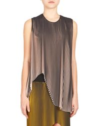 Stella McCartney - Gray Plisse Asymmetrical Tank Top - Lyst