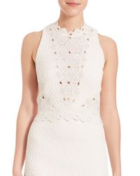 Rebecca Taylor | White Sleeveless Dia Lace Top | Lyst