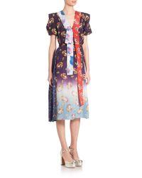 Marc Jacobs - Blue Floral-print Ribbon Dress - Lyst