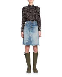 Saint Laurent - Blue A-line Denim Skirt - Lyst