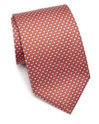 Ferragamo | Red Printed Silk Tie for Men | Lyst