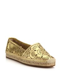 Burberry - Hodgeson Laser-cut Metallic Leather Espadrille Flats - Lyst