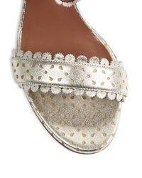 Tabitha Simmons - Leticia Scalloped Metallic Split Suede Block-heel Sandals - Lyst