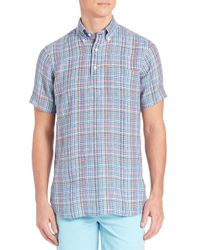 Polo Ralph Lauren | Blue Plaid Half-placket Button-down Shirt for Men | Lyst
