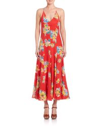 Polo Ralph Lauren | Multicolor Silk Floral Maxi Dress | Lyst