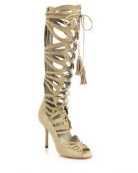 Alice + Olivia - Metallic Naomi Tall Suede Gladiator Sandals - Lyst
