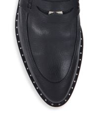 Frēda Salvador - Black Kind Leather D'orsay Penny Loafers - Lyst
