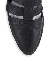 Frēda Salvador - Black Natural Leather T-strap Caged Mule Sandals - Lyst
