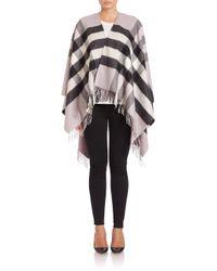 Burberry - Gray Collette Merino Wool & Cashmere Check Cape - Lyst