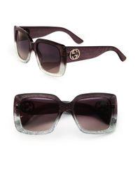 Gucci - Metallic 53mm Oversized Square Glitter Sunglasses - Lyst