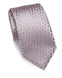 Charvet - Gray Small Pattern Silk Tie for Men - Lyst