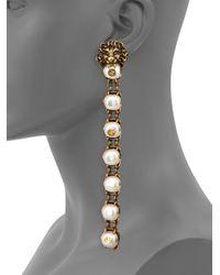 Gucci - Metallic Lion Head Faux Pearl Clip-on Drop Earrings - Lyst