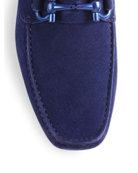 Ferragamo - Blue Parigi Suede Tonal Bit Loafers for Men - Lyst