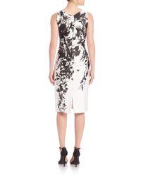 David Meister - Black Floral-print V-neck Sheath Dress - Lyst
