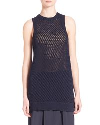 VINCE | Black Mesh Stitched Tank Top | Lyst
