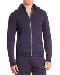 Saks Fifth Avenue   Blue Modern Zip-front Hooded Sweater for Men   Lyst