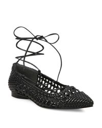 Michael Kors | Black Kallie Woven Leather Lace-up Flats | Lyst