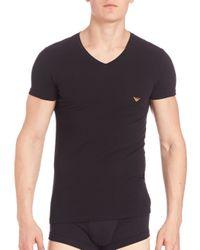 Emporio Armani   Black Ombre Eagle Stretch Cotton V-neck T-shirt for Men   Lyst