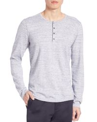 VINCE   Gray Sporty Jaspe Mix Stitch Henley Tee for Men   Lyst
