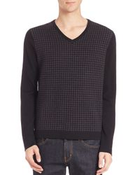 Saks Fifth Avenue | Black Merino Wool Houndstooth Sweater for Men | Lyst