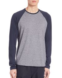 VINCE | Blue Rustic Mouline Long Sleeve Baseball Tee for Men | Lyst
