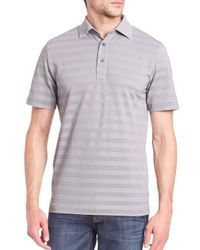 Saks Fifth Avenue | Gray Striped Pima Cotton Blend Polo for Men | Lyst