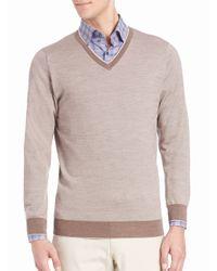 Saks Fifth Avenue | Gray Birdseye Merino Wool V-neck Sweater for Men | Lyst