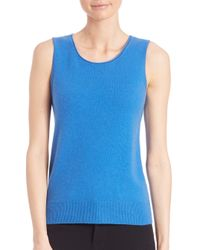 Saks Fifth Avenue   Blue Cashmere Rolled Crewneck Shell   Lyst