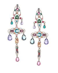 Lanvin | Multicolor Crystal Chandelier Clip-on Earrings | Lyst