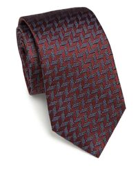 Armani   Red Patterned Silk Tie for Men   Lyst