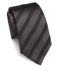 Armani | Black Diagonal Stripe Silk Tie for Men | Lyst