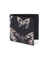 Alexander McQueen | Black Moth Calfskin Leather Billfold Wallet | Lyst