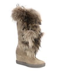 Aquatalia | Brown Colette Suede, Raccoon Fur & Shearling Wedge Boots | Lyst