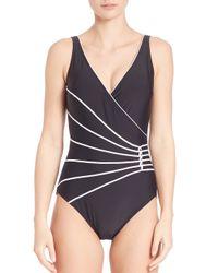 Gottex | Black One-piece Lime Light Surplice Swimsuit | Lyst