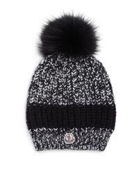 Moncler | Black Fur Pom-pom Knit Hat | Lyst