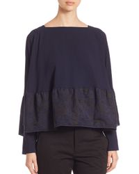 Antonio Berardi | Blue Long Sleeve Jacquard Ruffle Hem Top | Lyst