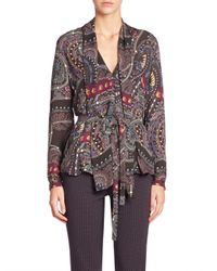 Etro | Natural - Intarsia Knit Belted Top - Women - Silk - 46 | Lyst