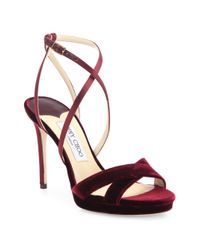 Jimmy Choo - Multicolor Lola 100 Velvet & Satin Crisscross Sandals - Lyst