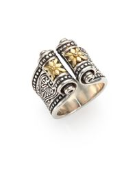 Konstantino | Metallic Penelope 18k Yellow Gold & Sterling Silver Etched Scroll Ring | Lyst