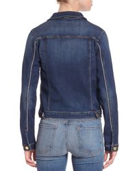 FRAME - Brown Le Piped Denim Jacket - Lyst