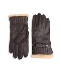 Barbour | Brown Textured Leather Gloves | Lyst