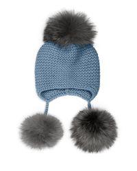 Inverni | Blue Triple Pom Knit Cashmere & Fox Fur Beanie | Lyst