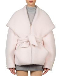 Balmain - Pink Belted Angora Blend Jacket - Lyst