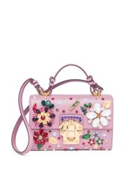 Dolce & Gabbana - Pink Floral-embellished Mini Flap Leather Shoulder Bag - Lyst