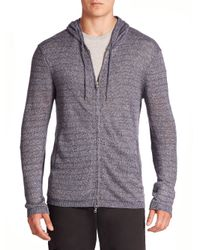 John Varvatos | Multicolor Striped Long Sleeve Zip-front Hoodie Sweater for Men | Lyst