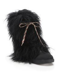 See By Chloé | Black Katy Faux Fur & Leather Boots | Lyst