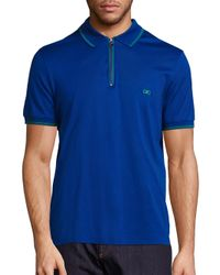 Ferragamo | Blue Zip Cotton Polo for Men | Lyst