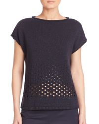 Lafayette 148 New York | Luxe Merino Wool & Cashmere Metallic Eyelet Stitch Sweater | Lyst