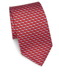 Ferragamo | Red Dolphin & Star Silk Tie for Men | Lyst