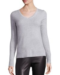 Saks Fifth Avenue | Gray Cashmere V-neck Sweater | Lyst